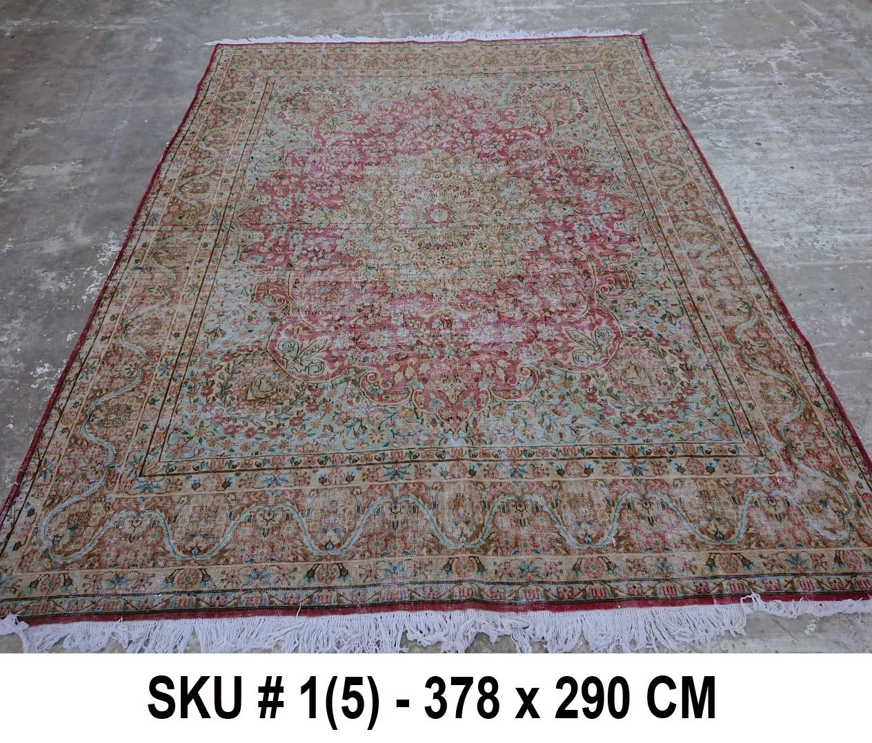 Vintage vloerkleed zandkleur met groen en rood, nr.59003, 378cm x 290cm