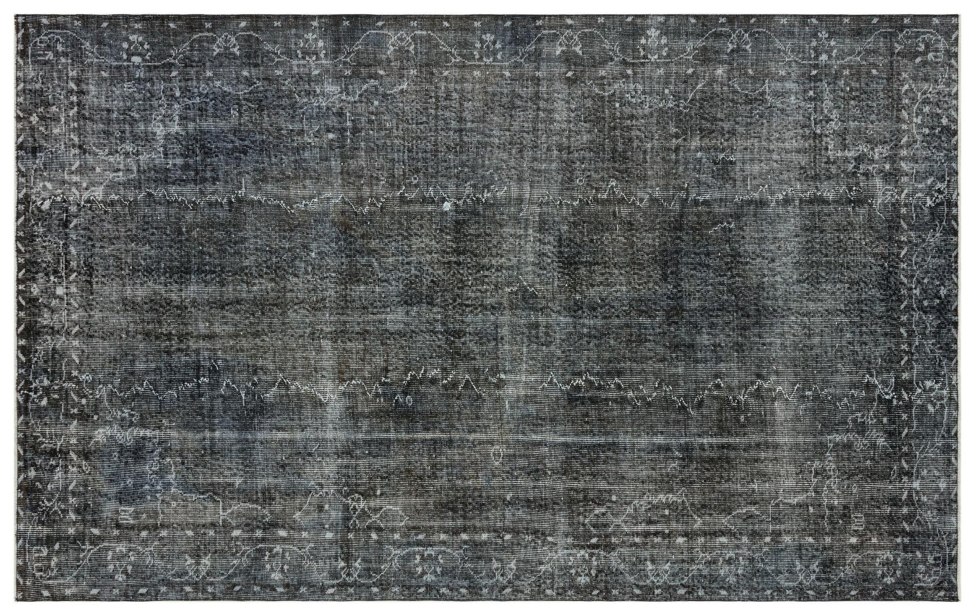Vintage vloerkleed zwart nr:35156 293cm x 186cm