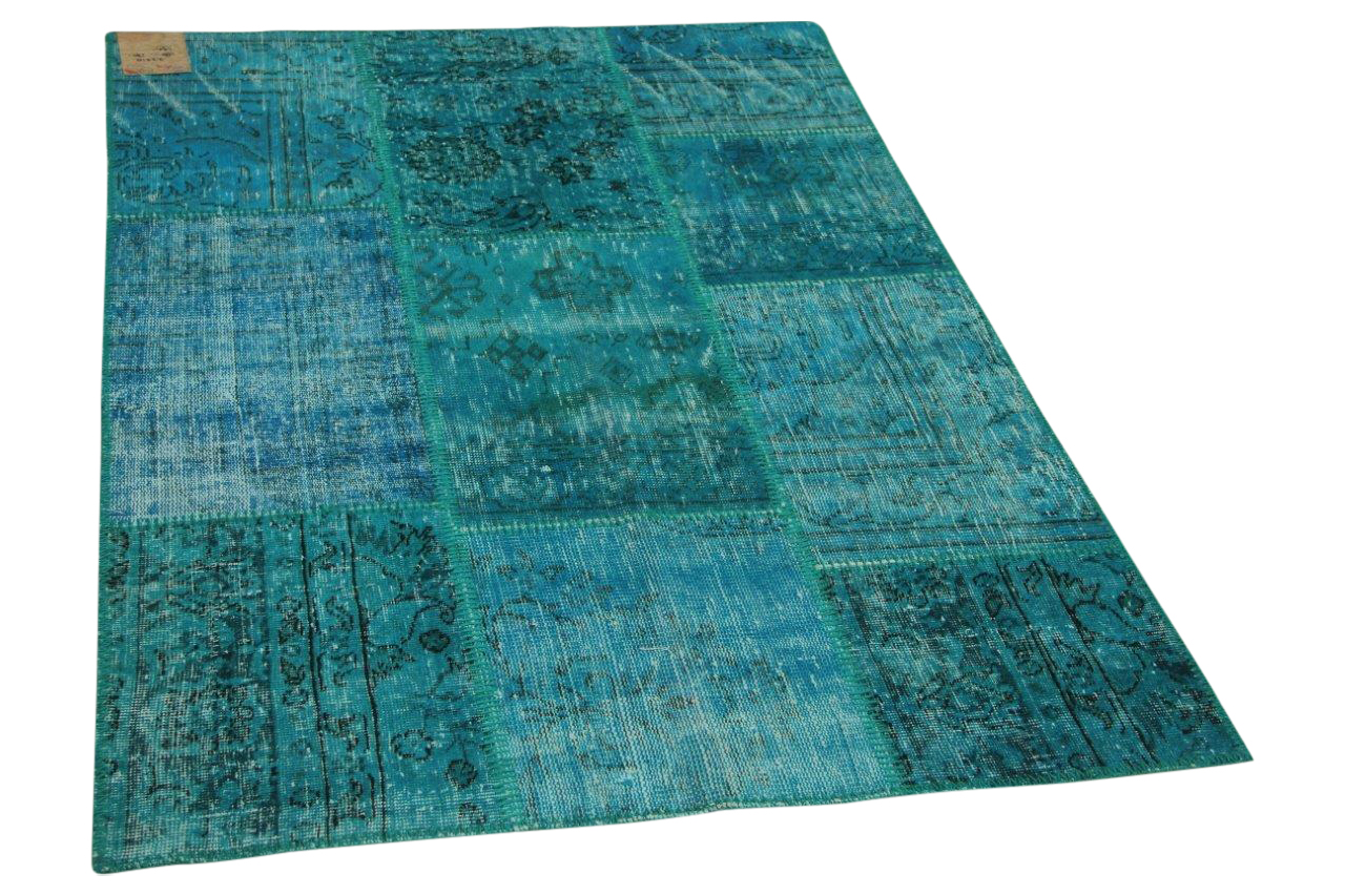 Patchwork vloerkleed blauw 180cm x 120cm nr23210