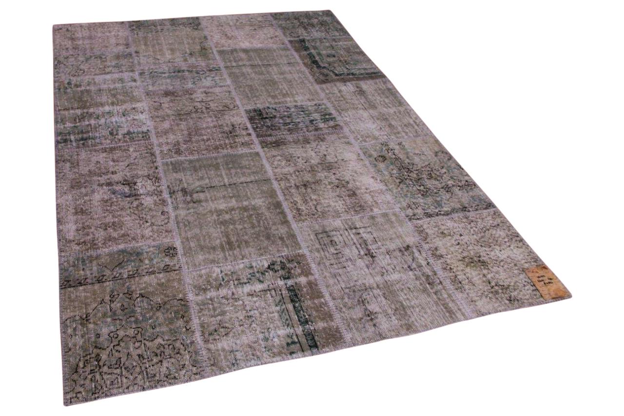 Patchwork vloerkleed grijs, groen 10122 240cm x 170cm