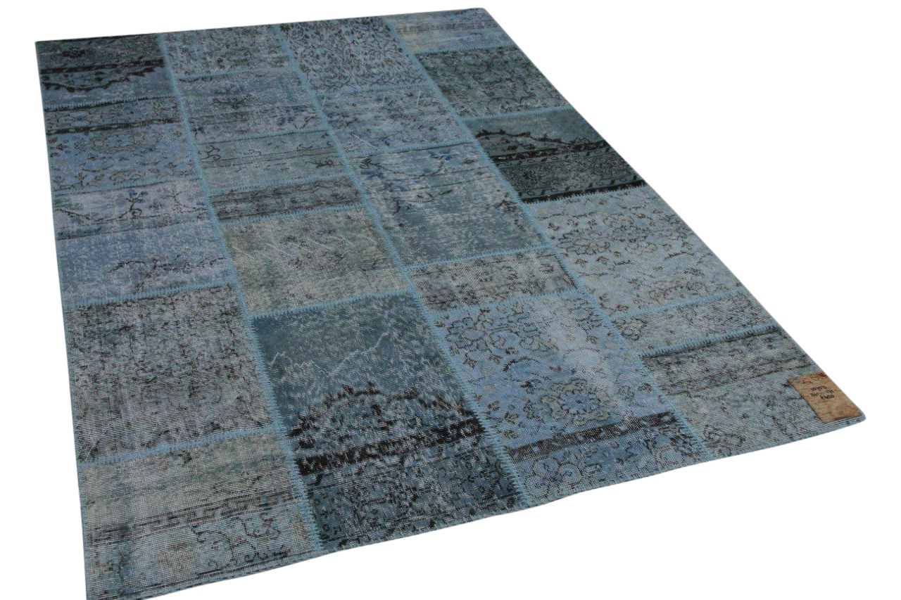 Patchwork blauw vloerkleed nr: 10753, 241cm x 171cm