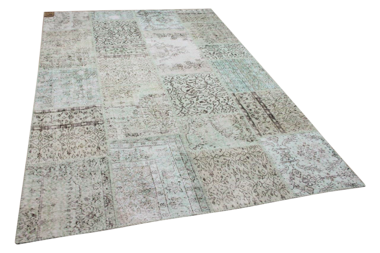 Patchwork vloerkleed groen nr.11483 308cm x 200cm