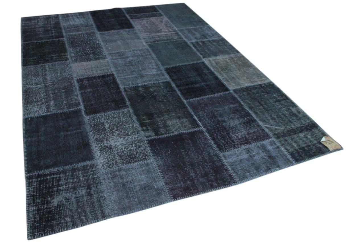 Patchwork donkergrijs vloerkleed nr: 13403 301cm x 212cm