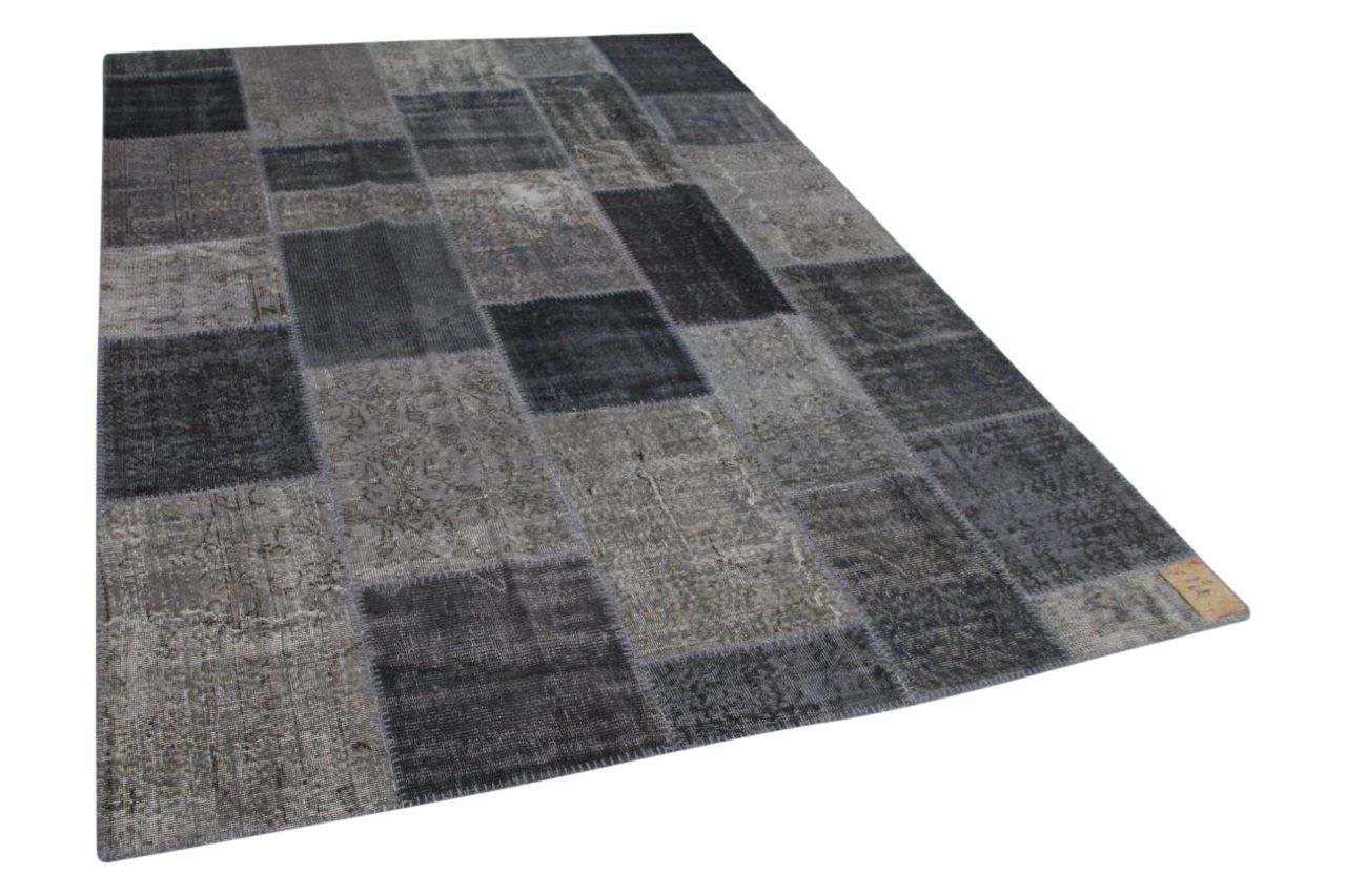Donkergrijs patchwork vloerkleed 303cm x 213cm