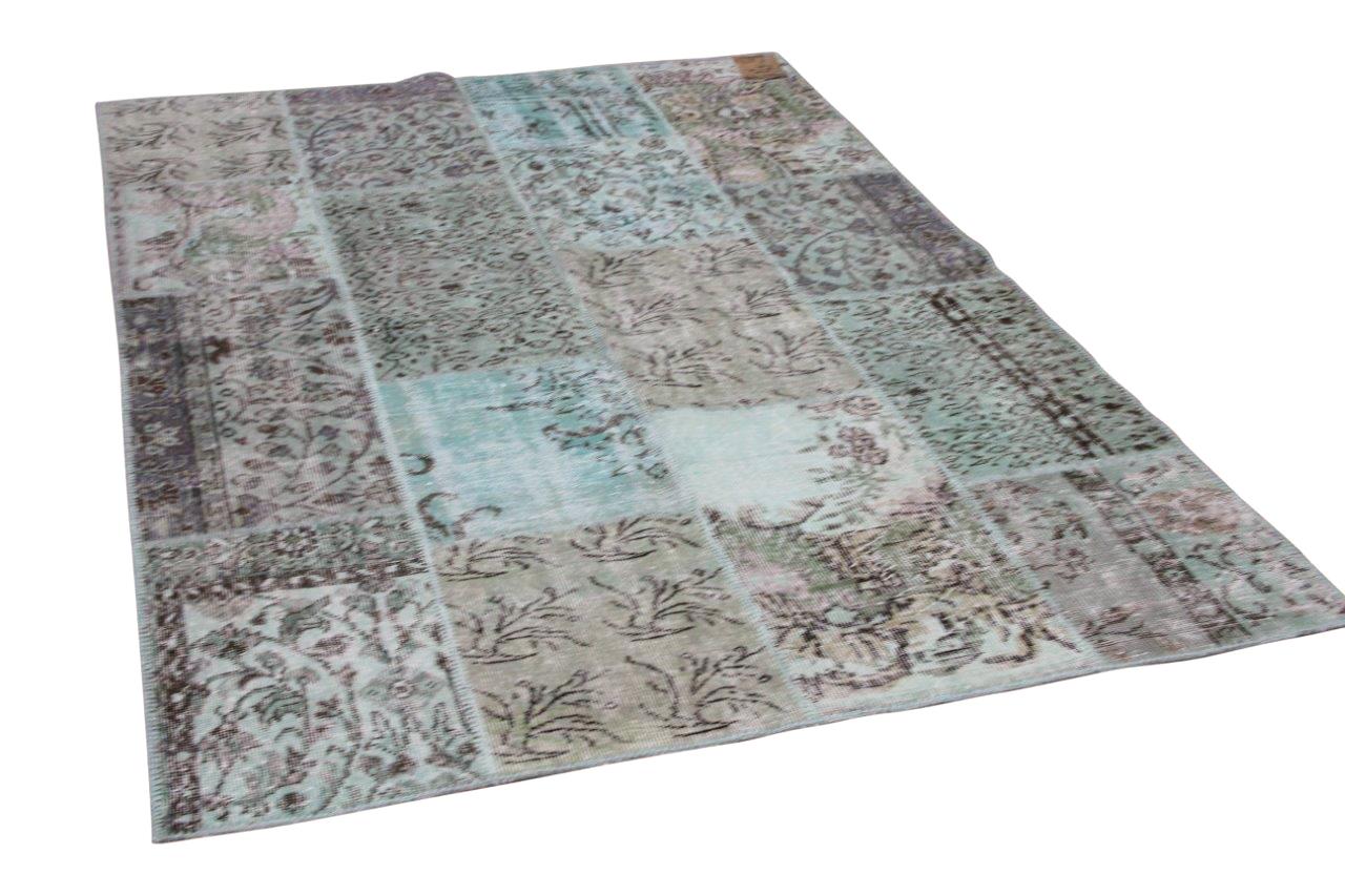 Patchwork vloerkleed groen nr.26306 230cm x 160cm