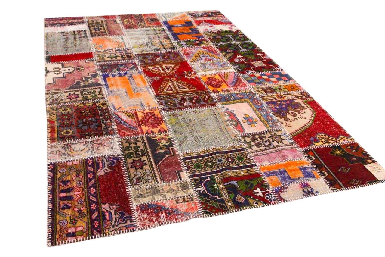 Patchwork vloerkleed  rood met diverse kleuren 307cm x 206cm