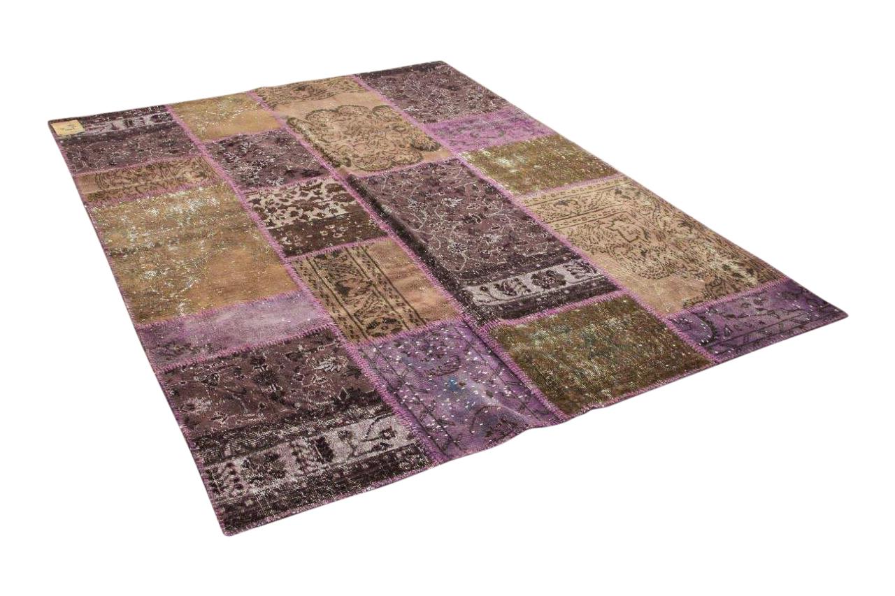 Patchwork vloerkleed paars en bruin 75027 250cm x 183cm