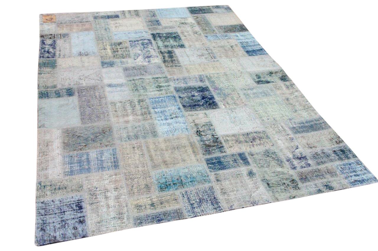 Patchwork vloerkleed blauw nr.80021 234cm x 169cm