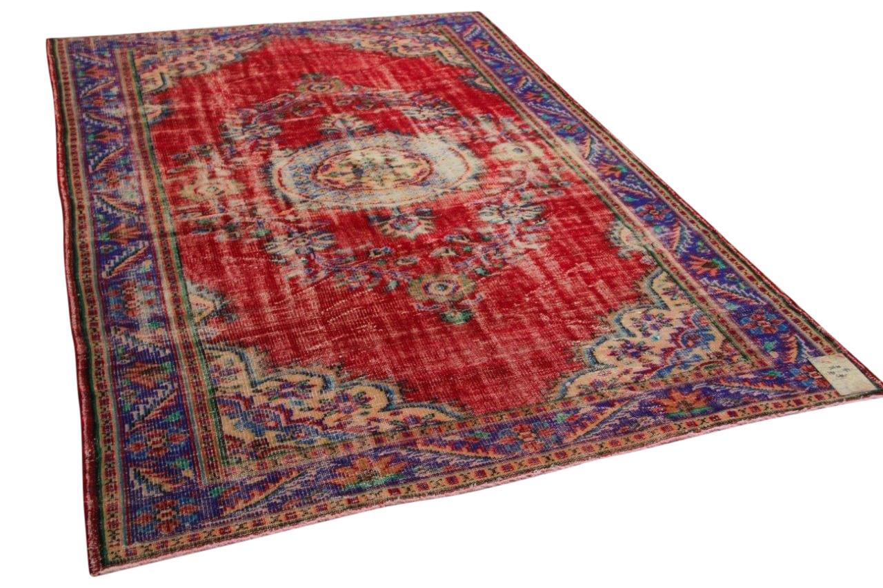 Vintage vloerkleed rood 32639 290cm x 194cm