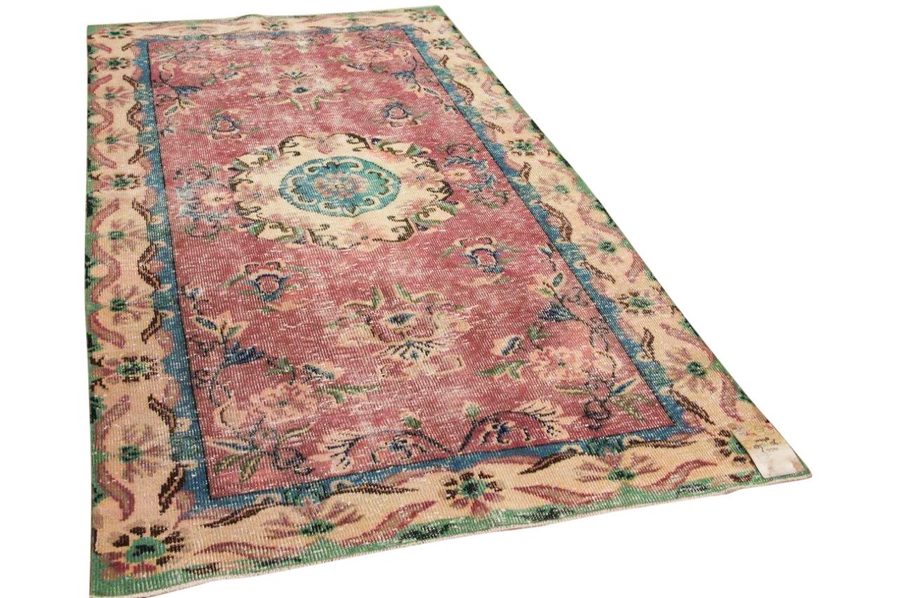 Vintage vloerkleed roze met blauw en groen 10278 285cm x 156cm