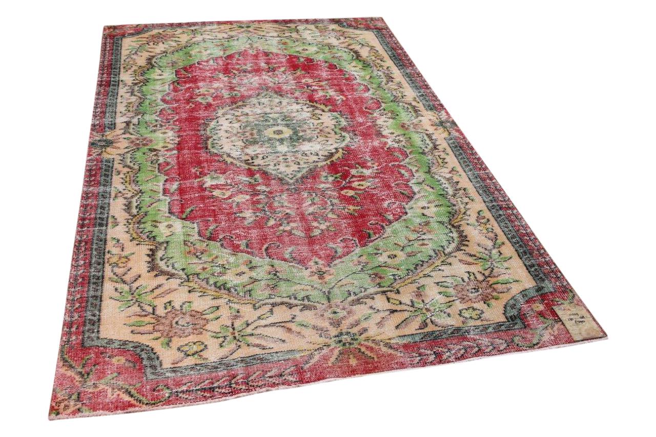 Vintage vloerkleed rood, groen 11029 270cm x 168cm