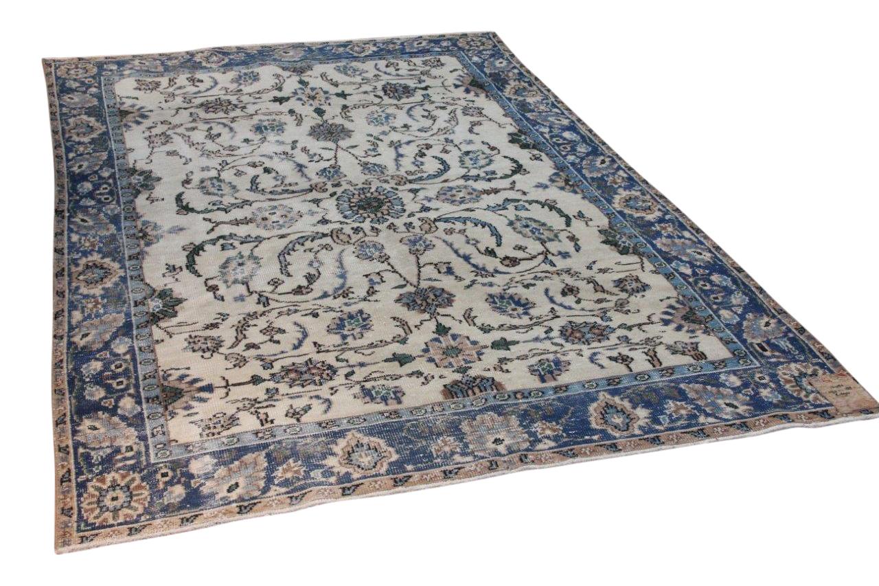 Vintage vloerkleed met blauw nr:12482 292cm x 188cm