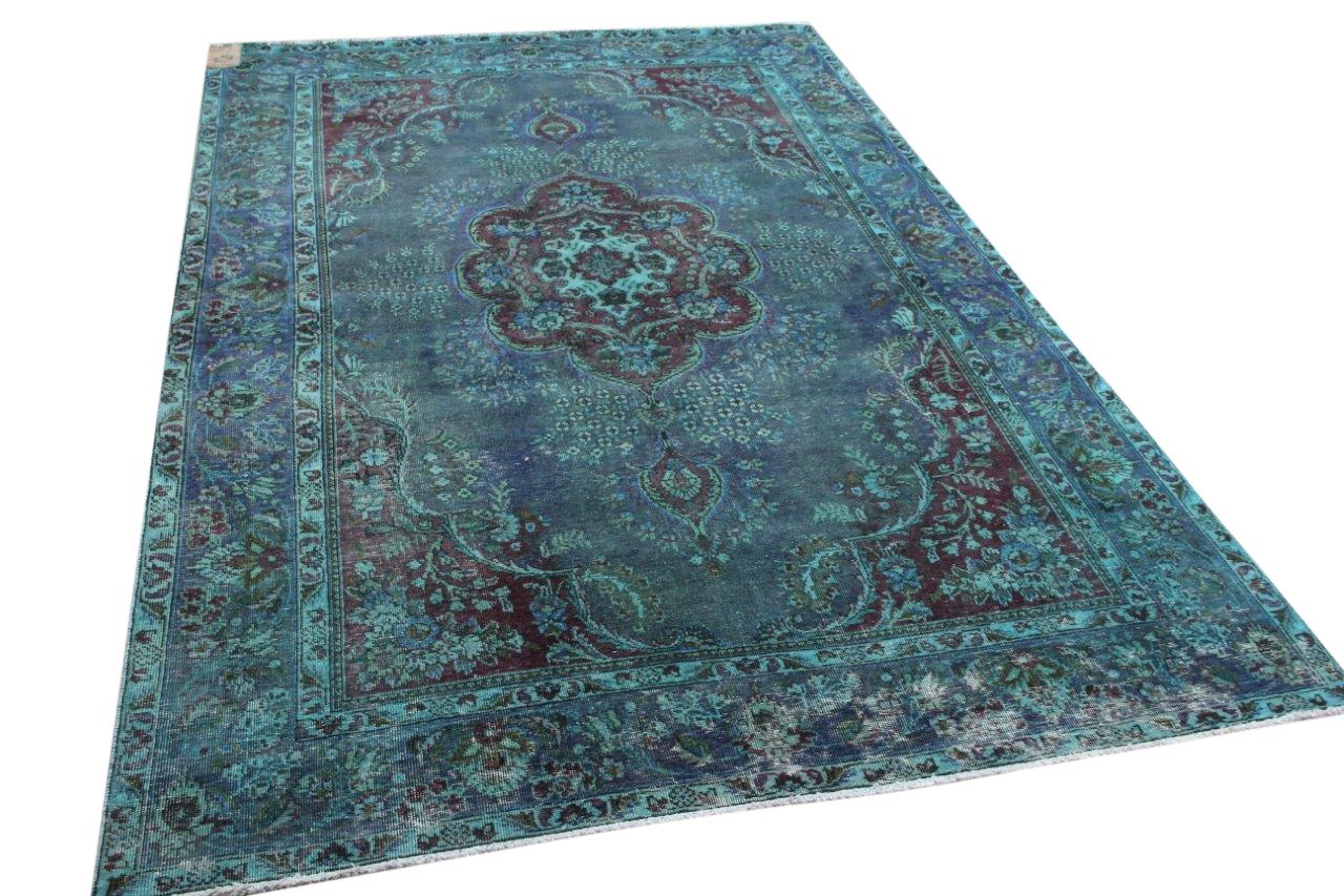 Vintage vloerkleed blauw 17076 294cm x 197cm