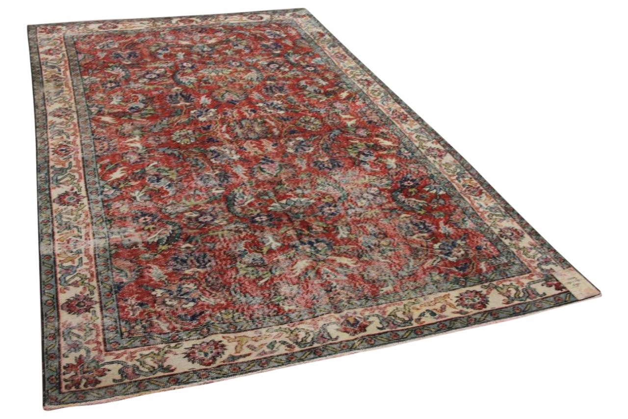 Vintage vloerkleed rood 22319 294cm x 192cm