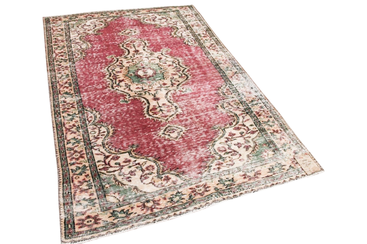 Vintage vloerkleed rood 25071 241cm x 153cm