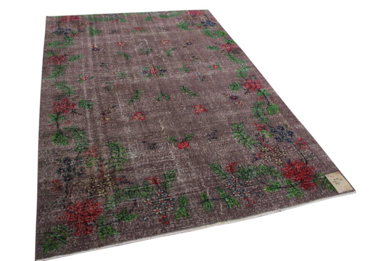 Vintage vloerkleed grijs, groen en rood 30197