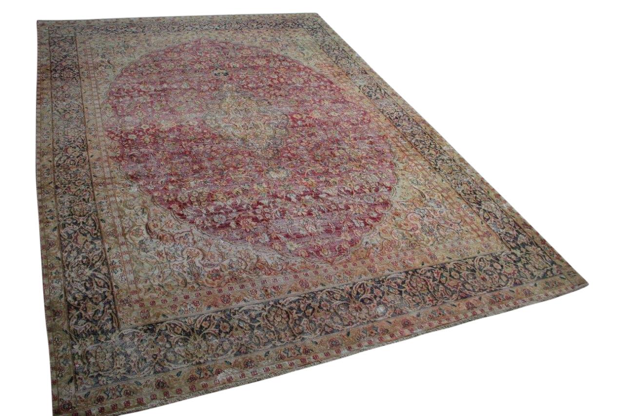 Vintage vloerkleed met rood 58429 389cm x 285cm