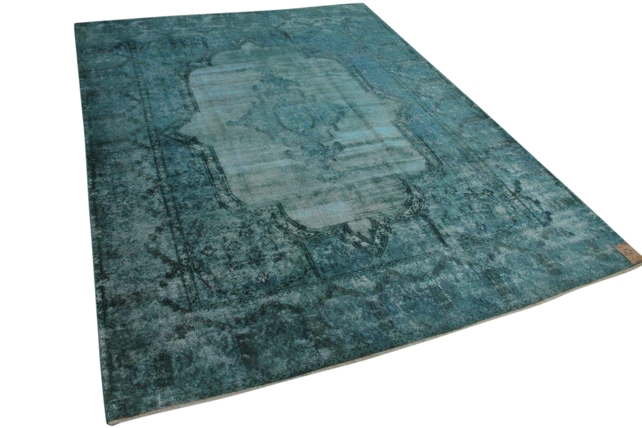 Vintage vloerkleed blauw, groen 58431 384cm x 282cm