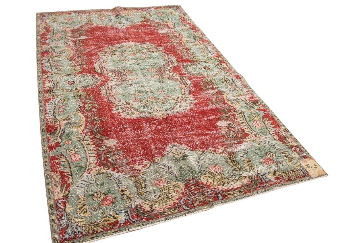 Vintage vloerkleed rood met groen 5925 270cm x162cm