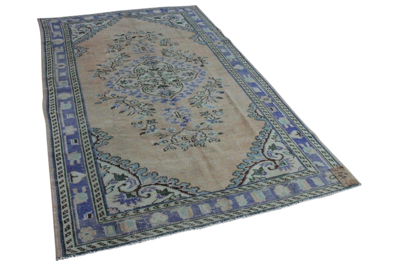 Vintage vloerkleed met blauw, 273cm x 170cm, nr6774