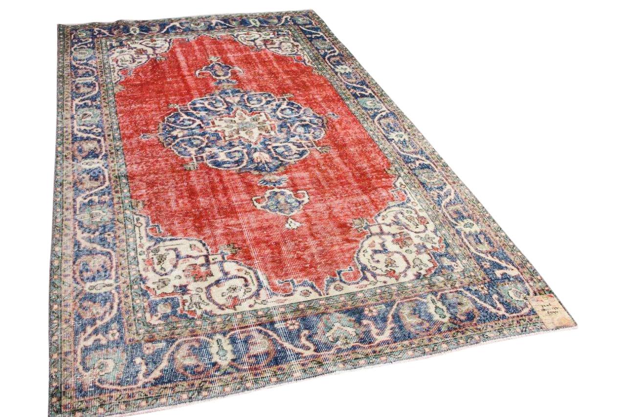 Vintage vloerkleed rood, blauw 7226 284cm x 173cm