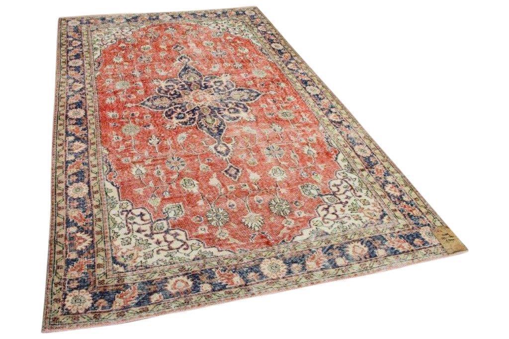 Vintage vloerkleed rood met blauw nr:7289 293cm x 180cm