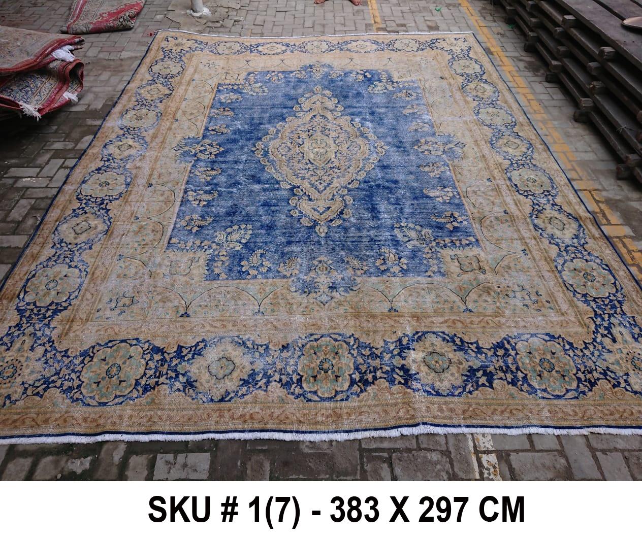 Vintage vloerkleed zandkleur met blauw, nr.98003, 383cm x 297cm