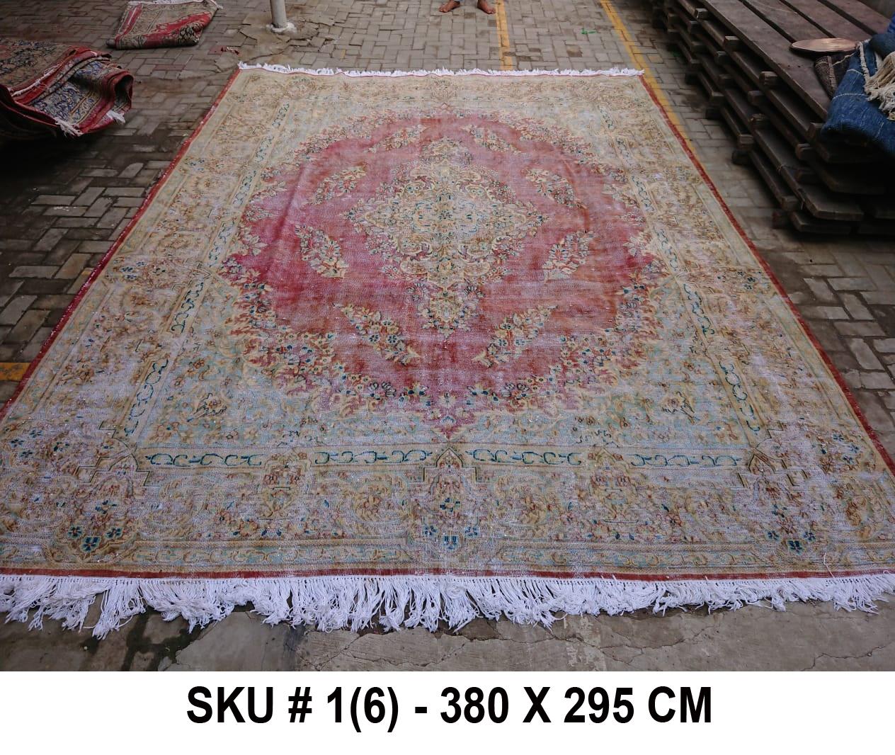 Vintage vloerkleed zandkleur met groen en rood, nr.98004, 380cm x 295cm