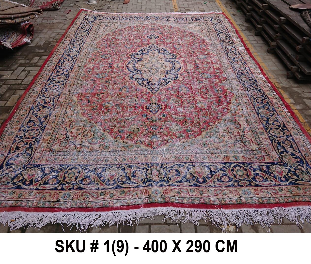 Vintage vloerkleed rood met blauw, nr.98005, 400cm x 290cm