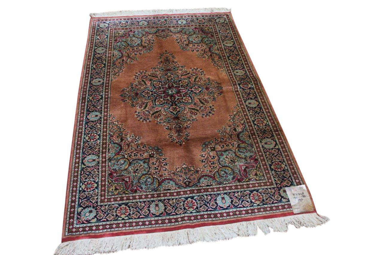 Vintage zijde vloerkleed uit Kayseri, nr.57348, 190cm x 120cm 40 jaar oud